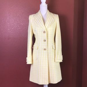 Banana Republic Yellow/White Tweed Overcoat